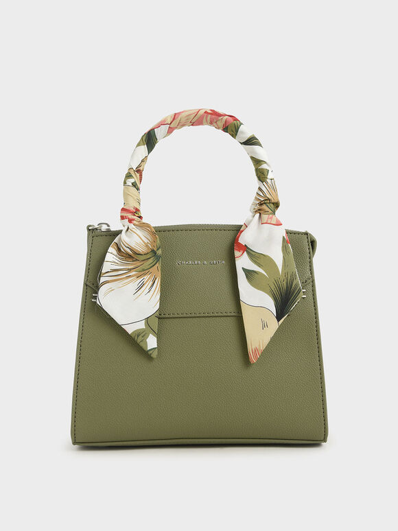 Scarf-Wrapped Top Handle Bag, Sage Green, hi-res