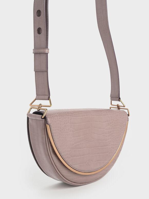 Croc-Effect Semi-Circle Crossbody Bag, Mauve, hi-res