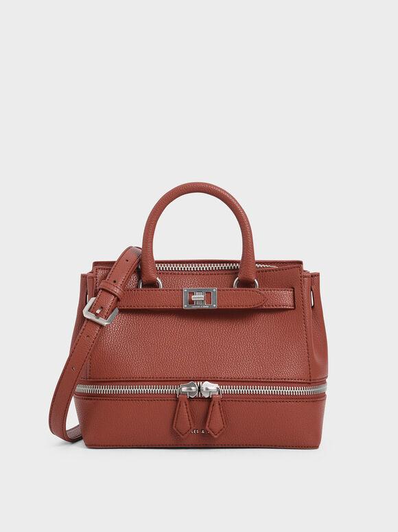 Two-Way Zip Structured Bag, Cognac, hi-res