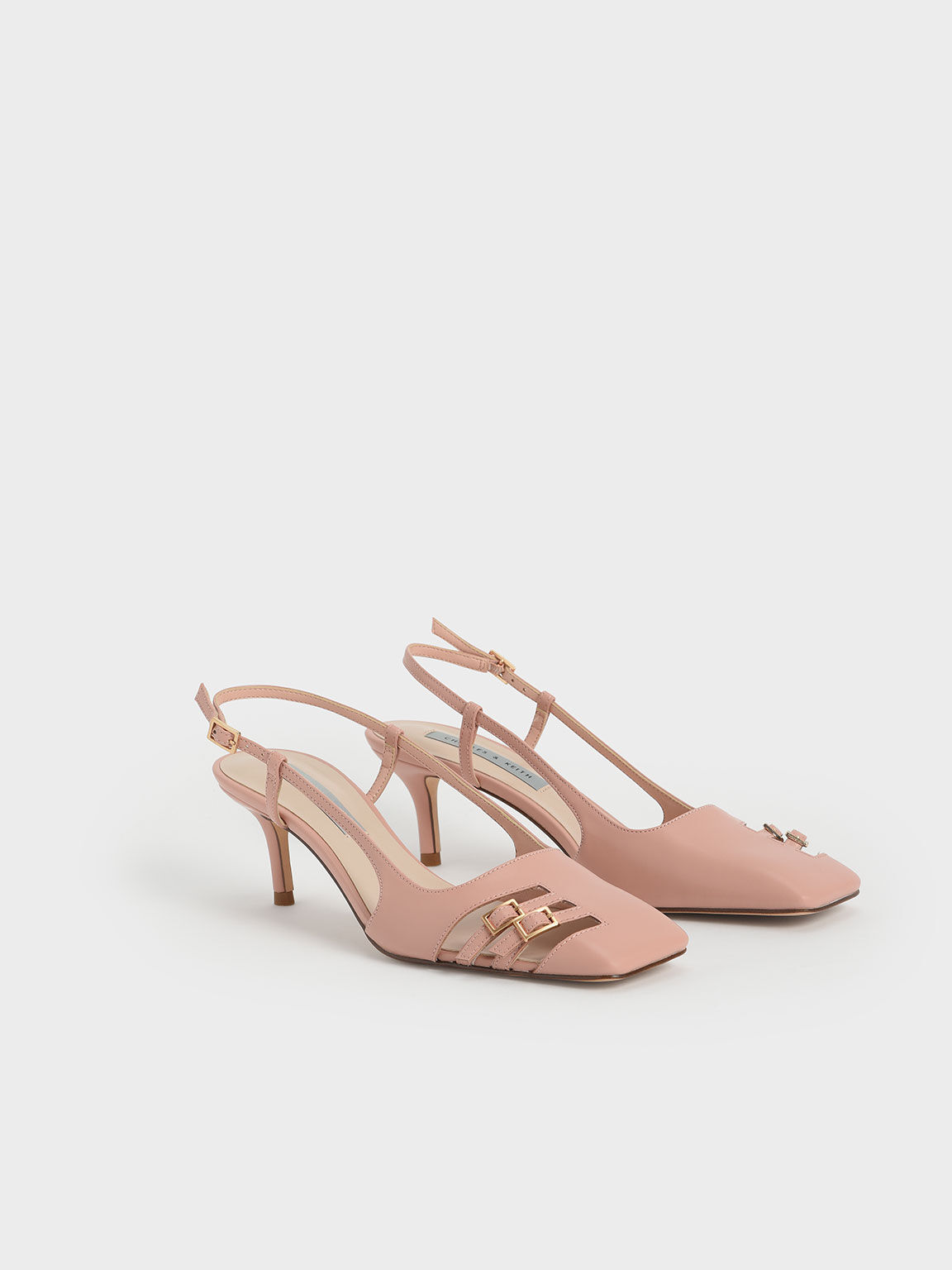 金屬雙釦細跟鞋, 膚色, hi-res