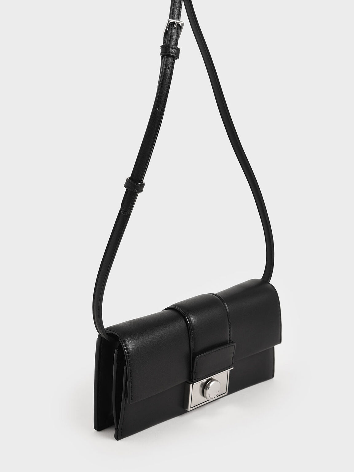 Push-Lock Long Wallet, Black, hi-res
