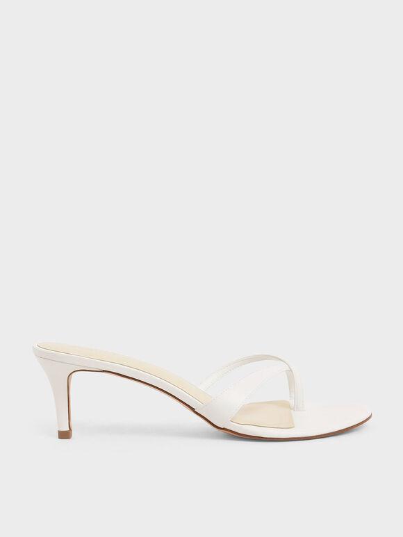 Toe Strap Heeled Sandals, White, hi-res
