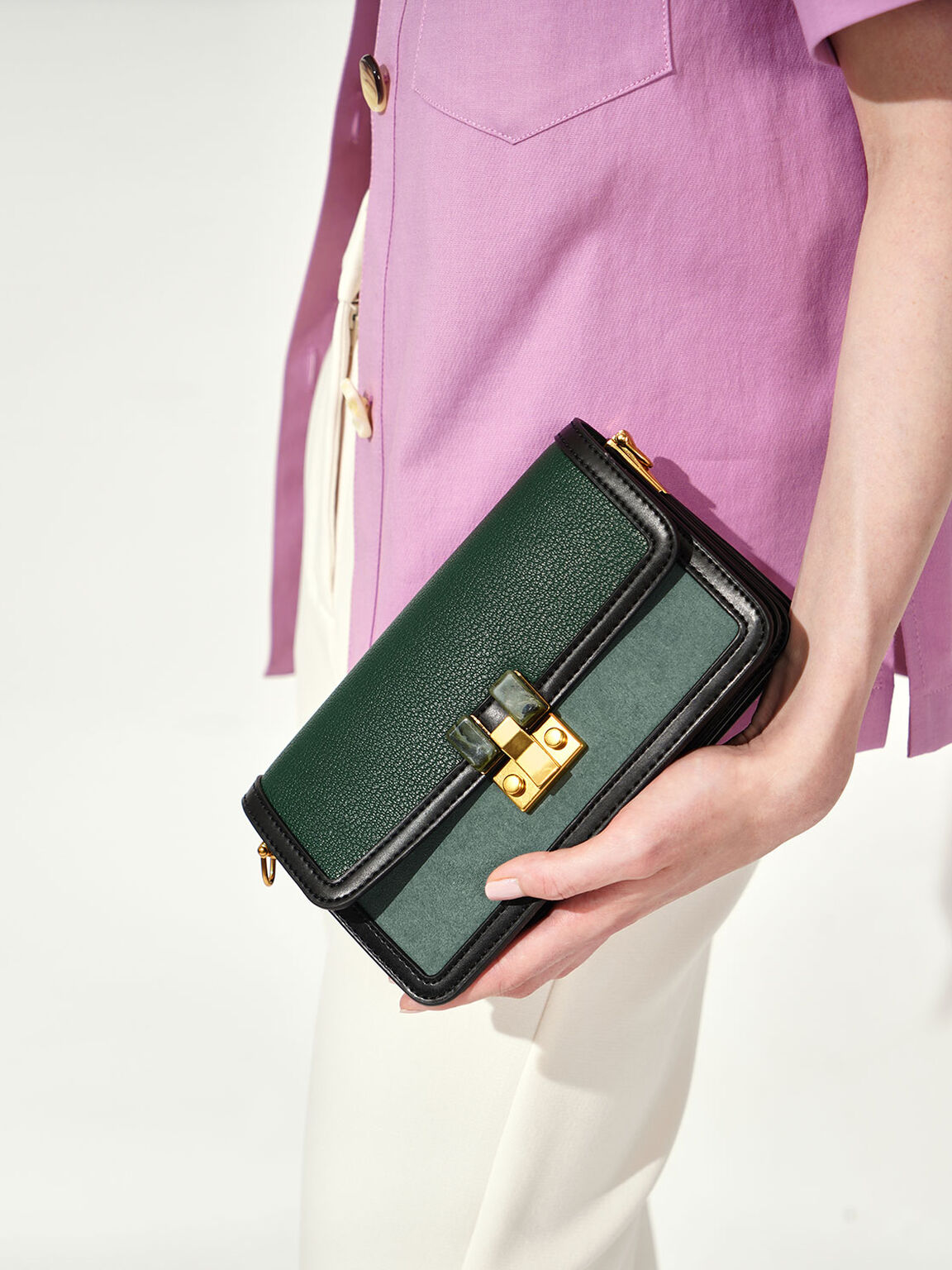 Stone-Embellished Clutch, Green, hi-res