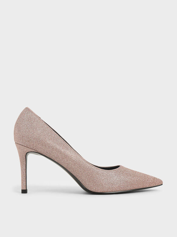 Glitter Pointed Toe Court Shoes, Pink, hi-res