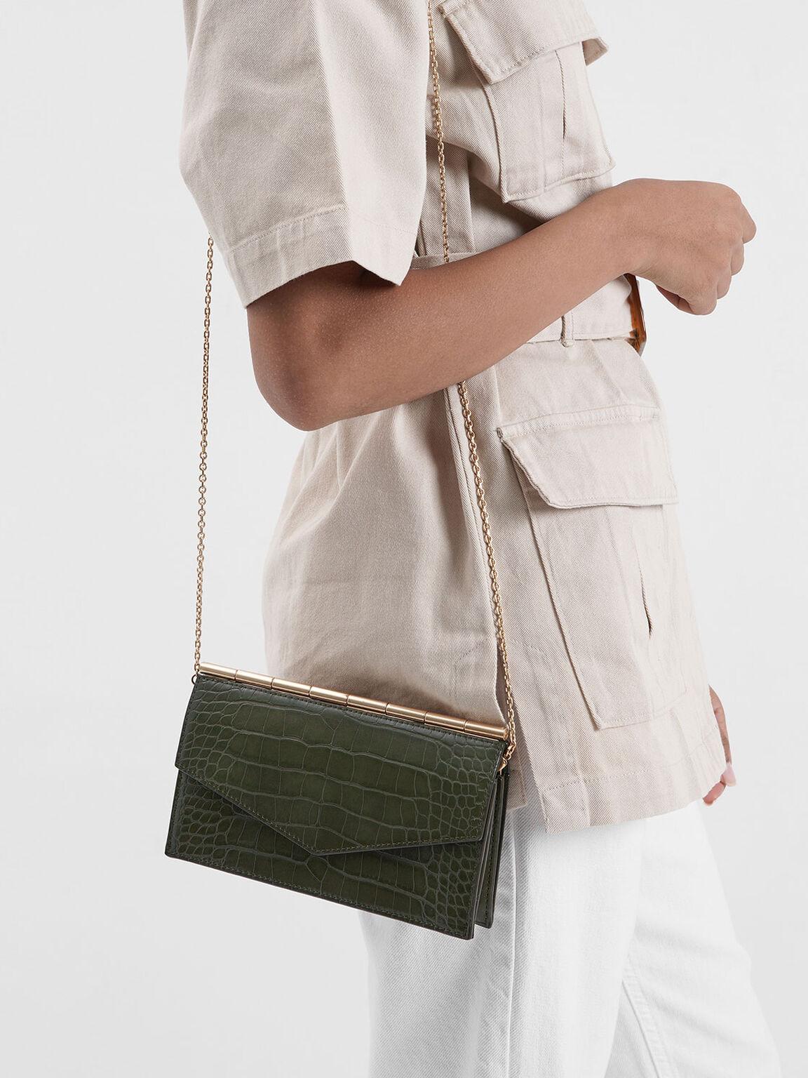 Mini Croc-Effect Long Envelope Wallet, Olive, hi-res