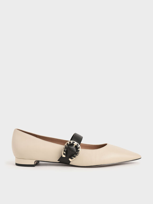 Leather Mary Jane Flats, Chalk, hi-res