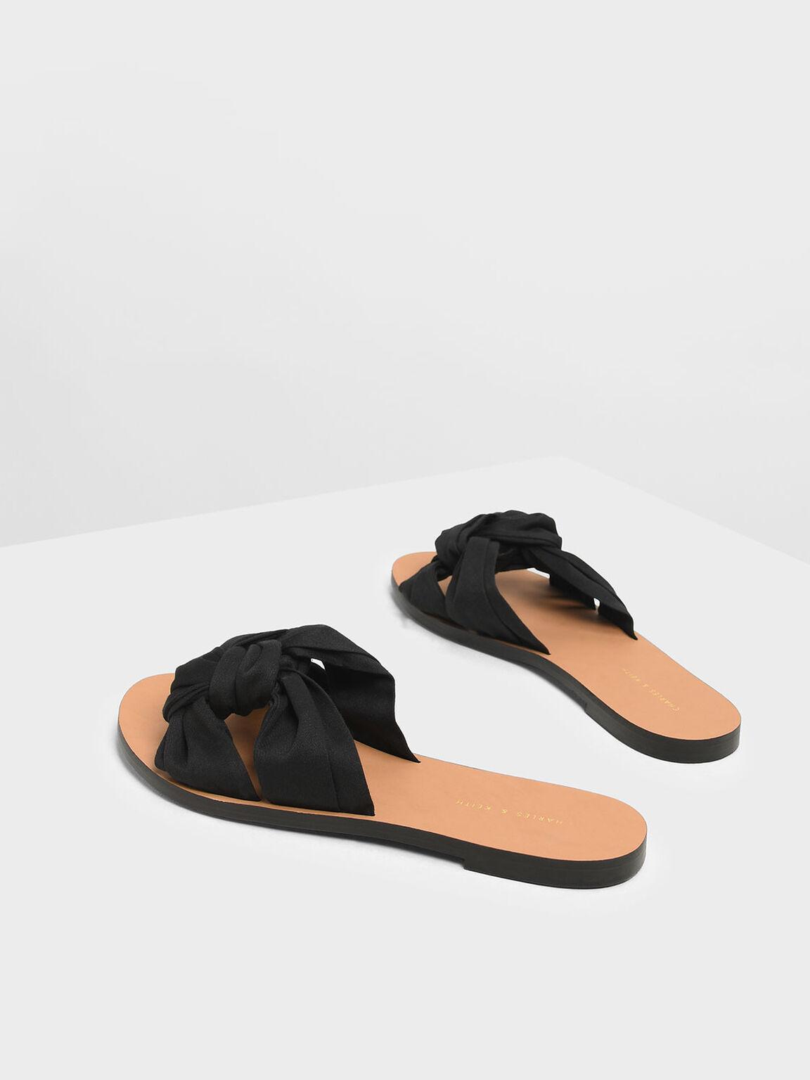 Knotted Slide Sandals, Black, hi-res