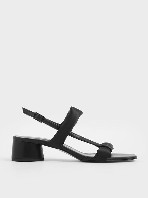 Puffy Strap Sandals, Black, hi-res