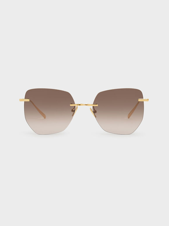 Rimless Geometric Sunglasses, Brown, hi-res