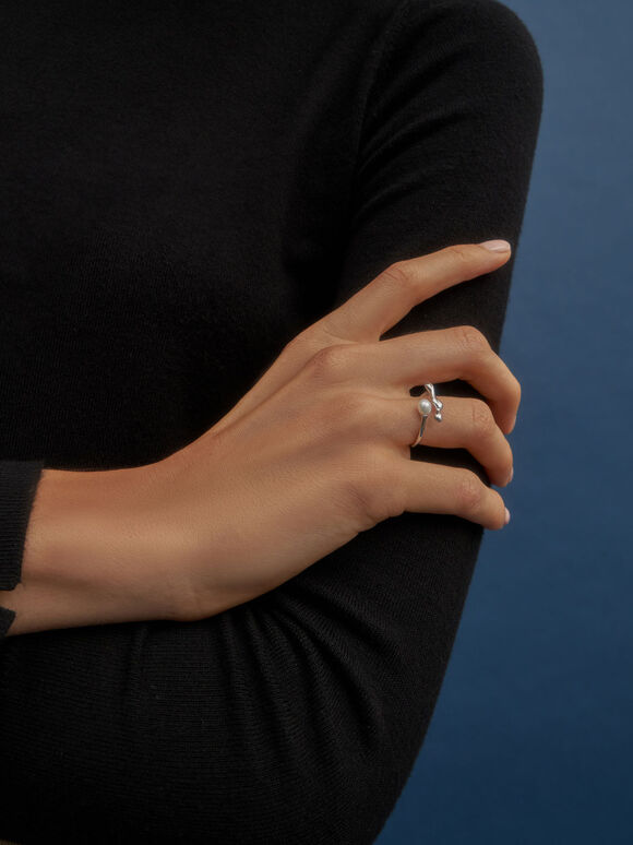 流動金屬戒指, 銀色, hi-res