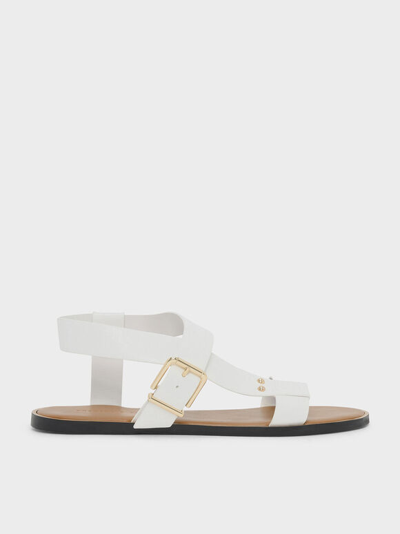 Thick Strap Sandals, White, hi-res