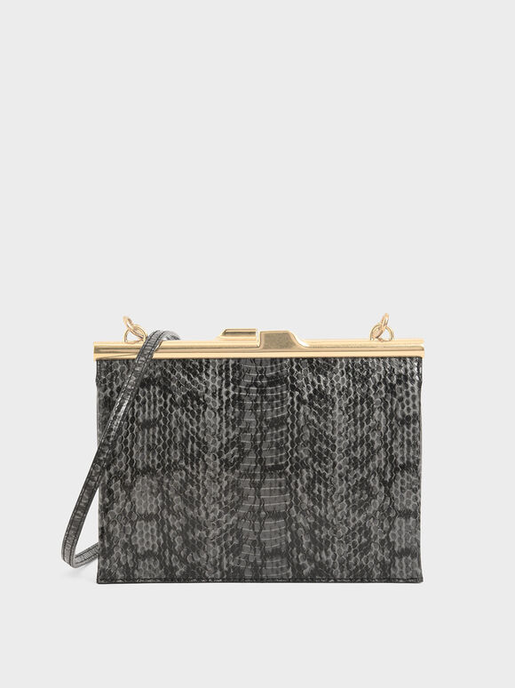 Snake Print Square Clutch, Black, hi-res
