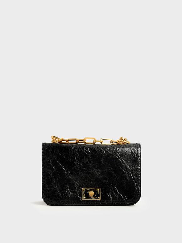 Wrinkled Effect Chain Handle Crossbody Bag, Black, hi-res