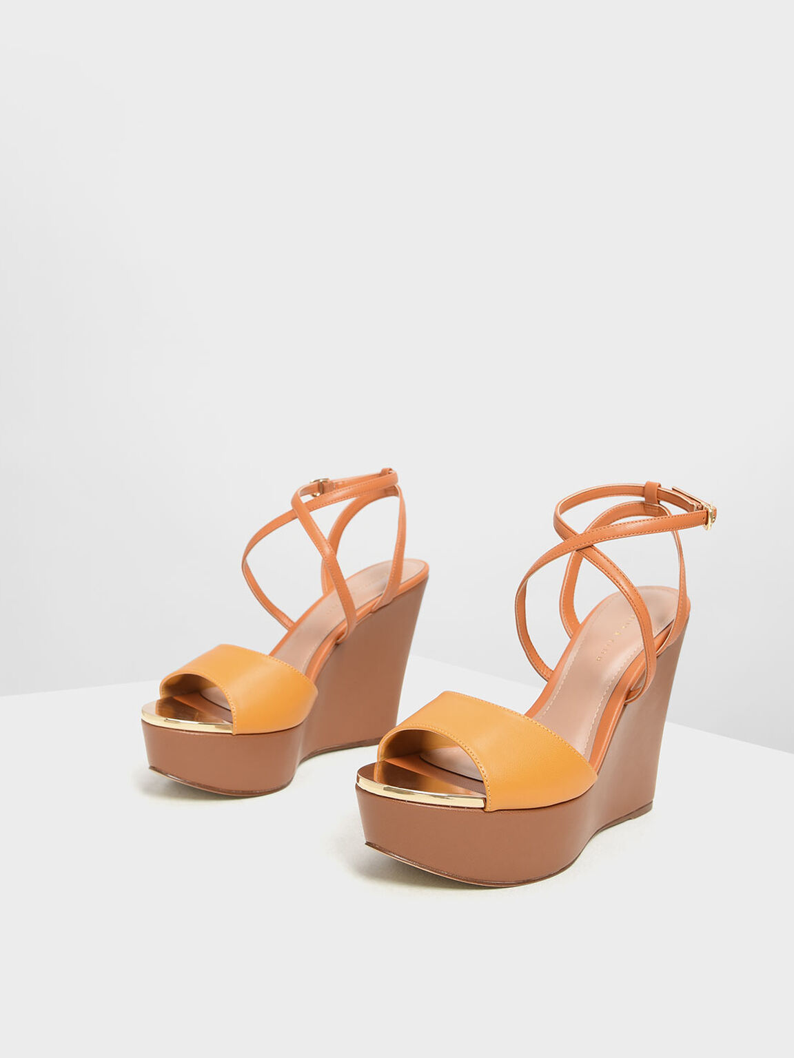 Criss Cross Ankle Strap Wedges, Mustard, hi-res