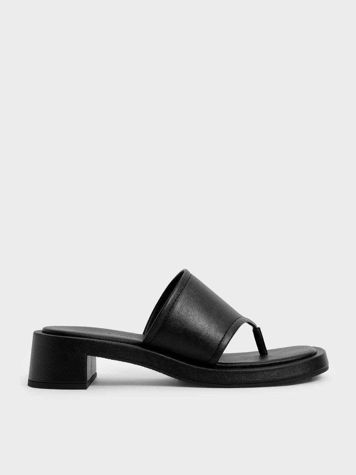 Padded Thong Sandals, Black, hi-res