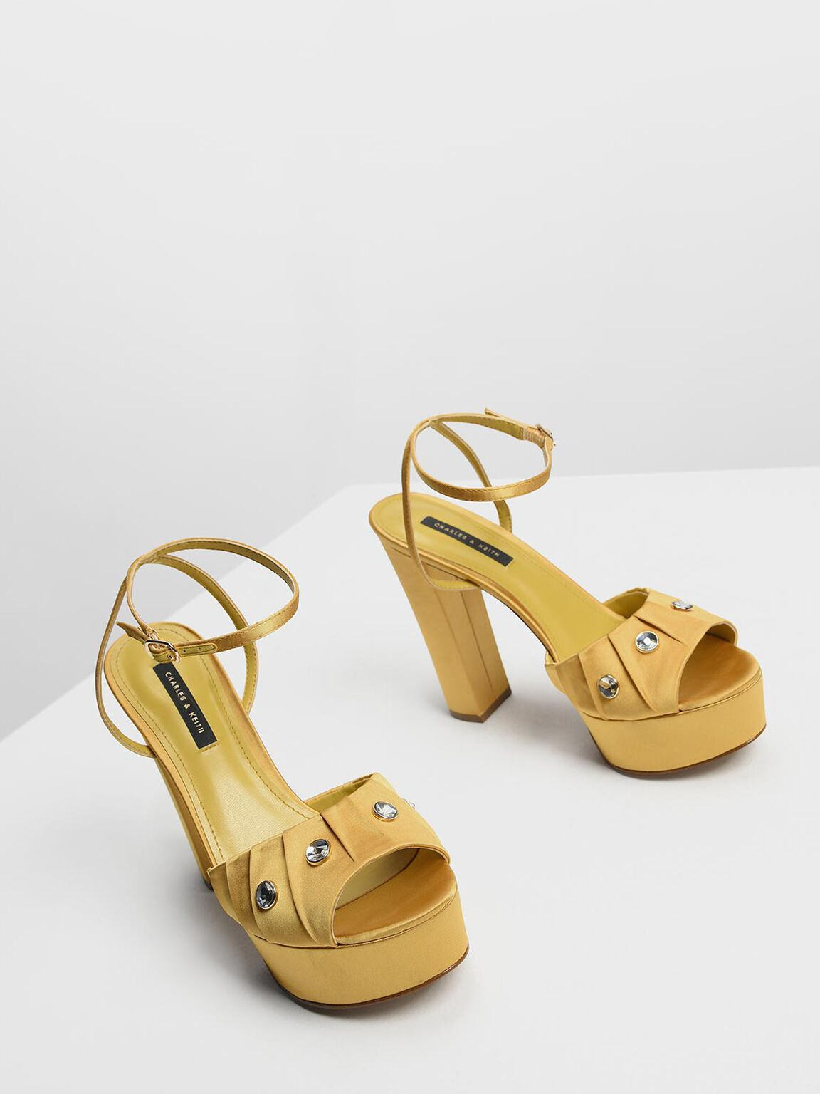 Bejeweled Satin Platforms, Yellow, hi-res
