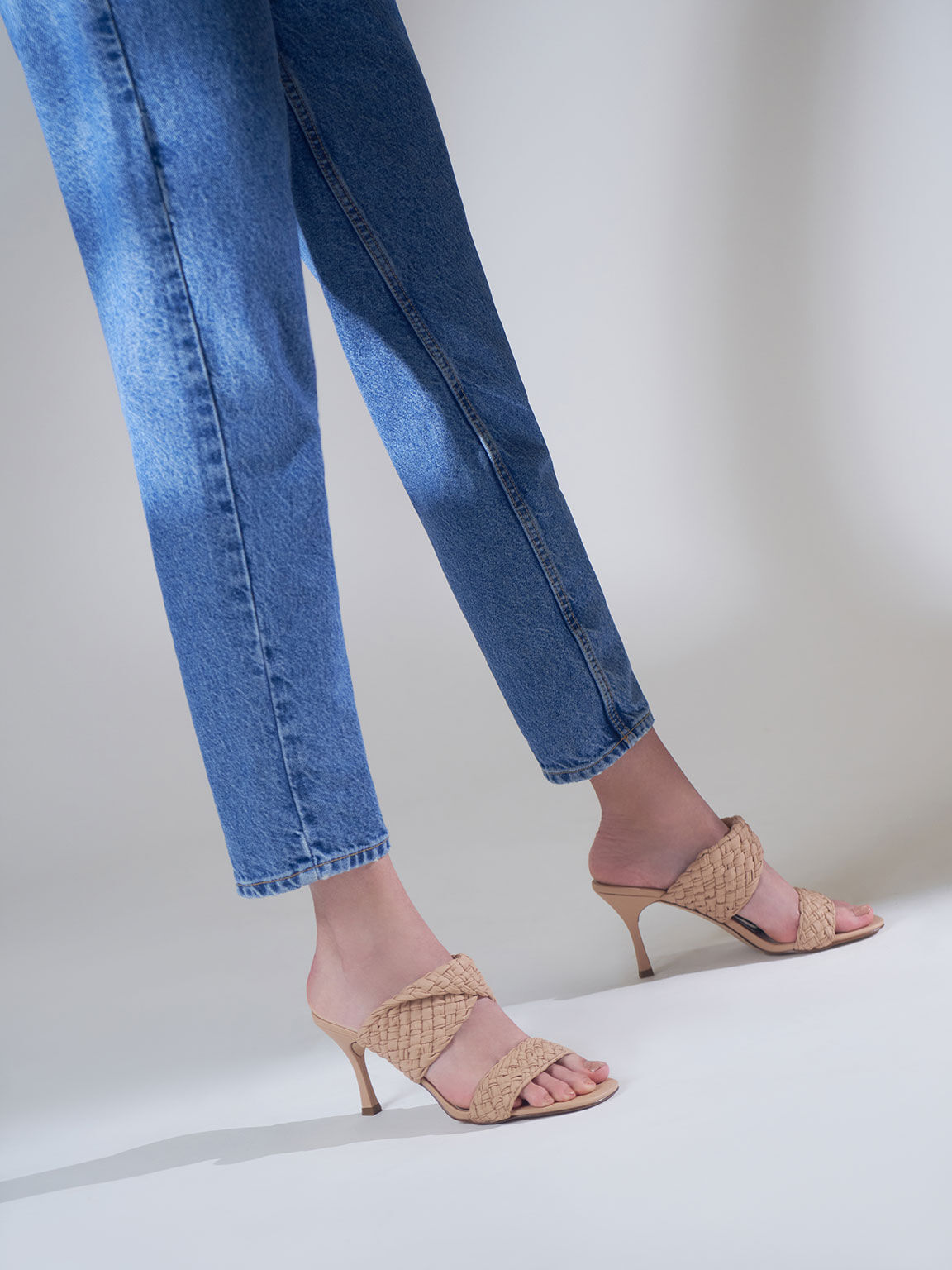 編織帶高跟拖鞋, 膚色, hi-res