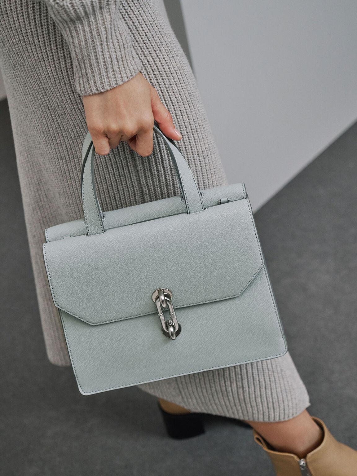 Metallic Accent Tote Bag, Light Blue, hi-res