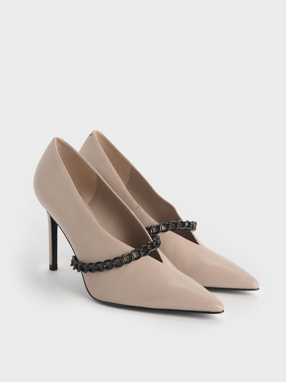Chain Strap Pumps, Nude, hi-res