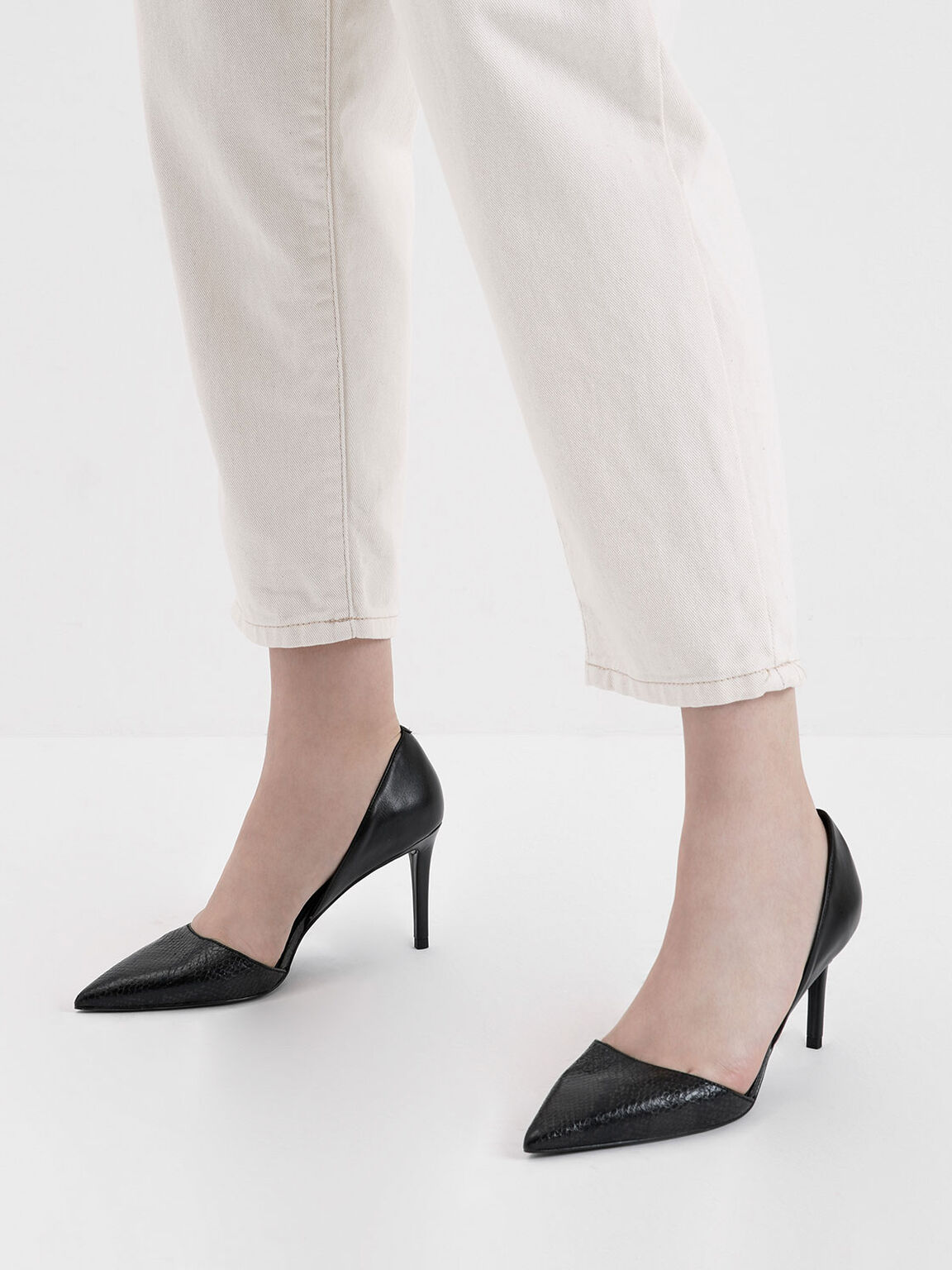 蛇紋尖頭細跟鞋, 黑色, hi-res