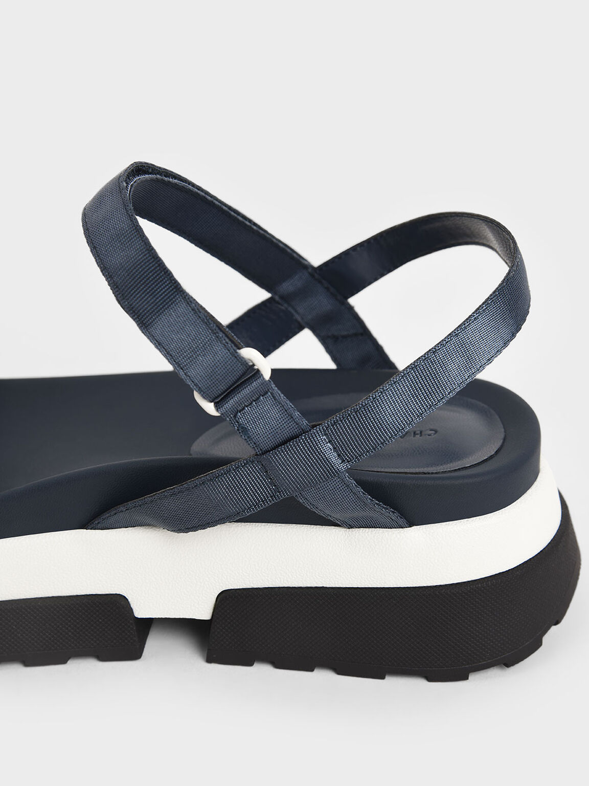 魔術氈厚底涼鞋, 藍色, hi-res