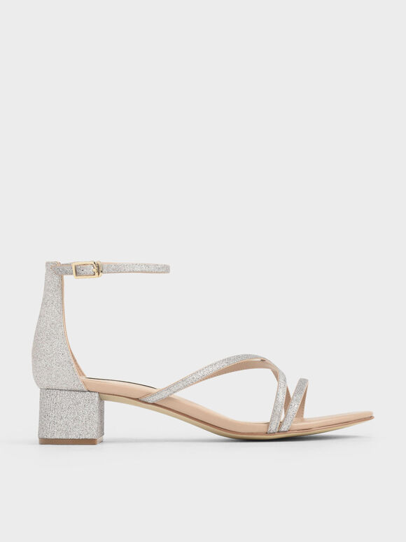 Glitter Strappy Heeled Sandals, Silver, hi-res
