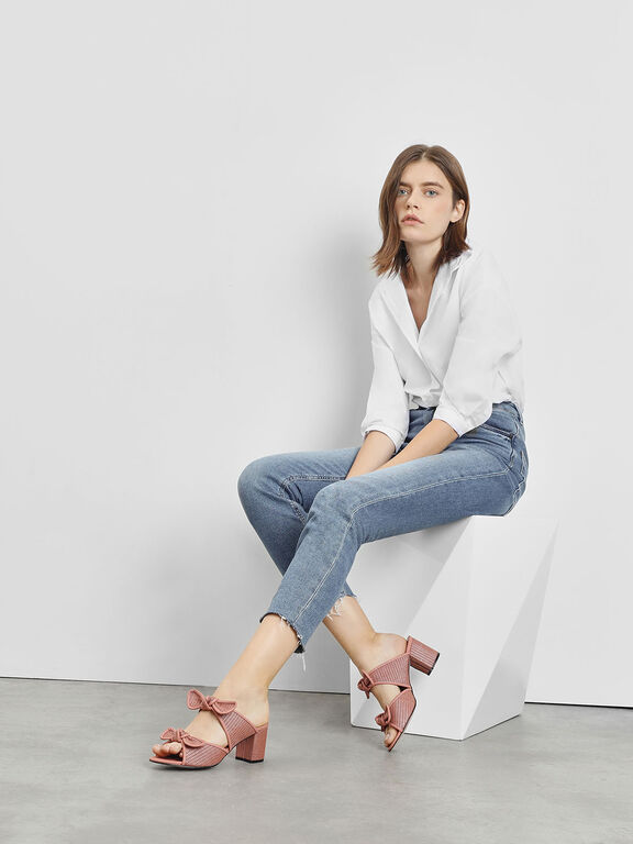 Double Bow Raffia Heeled Slide Sandals, Blush, hi-res