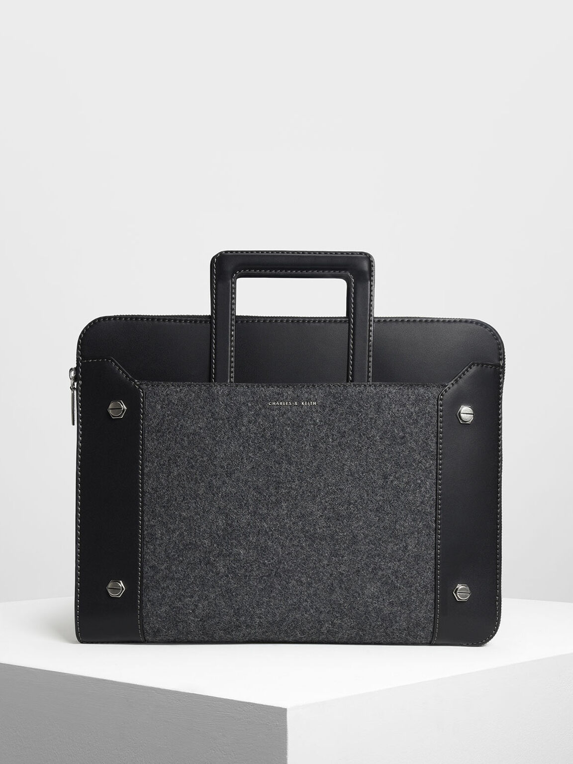 Stud Detail Laptop Bag, Black, hi-res