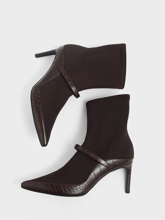 Croc-Effect Pointed Toe Sock Boots, Burgundy