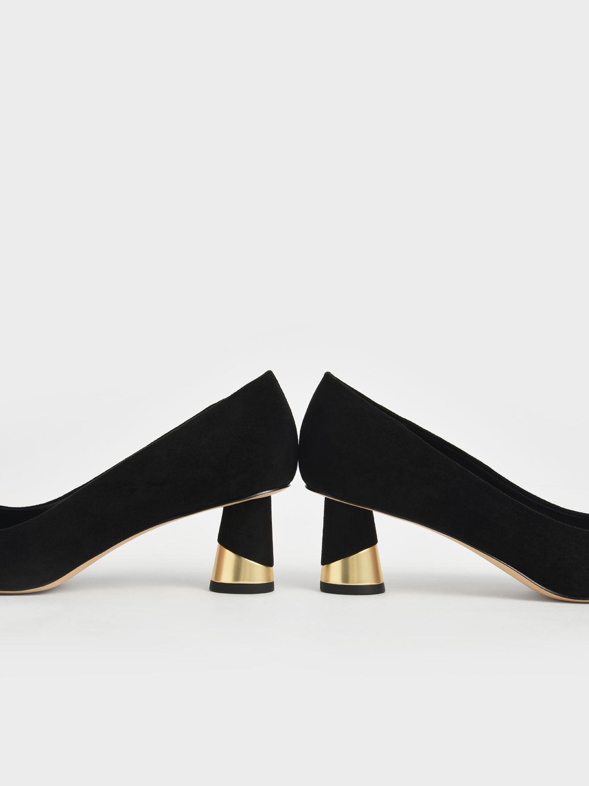 Metallic Sculptural Heel Textured Pumps, Black Textured, hi-res