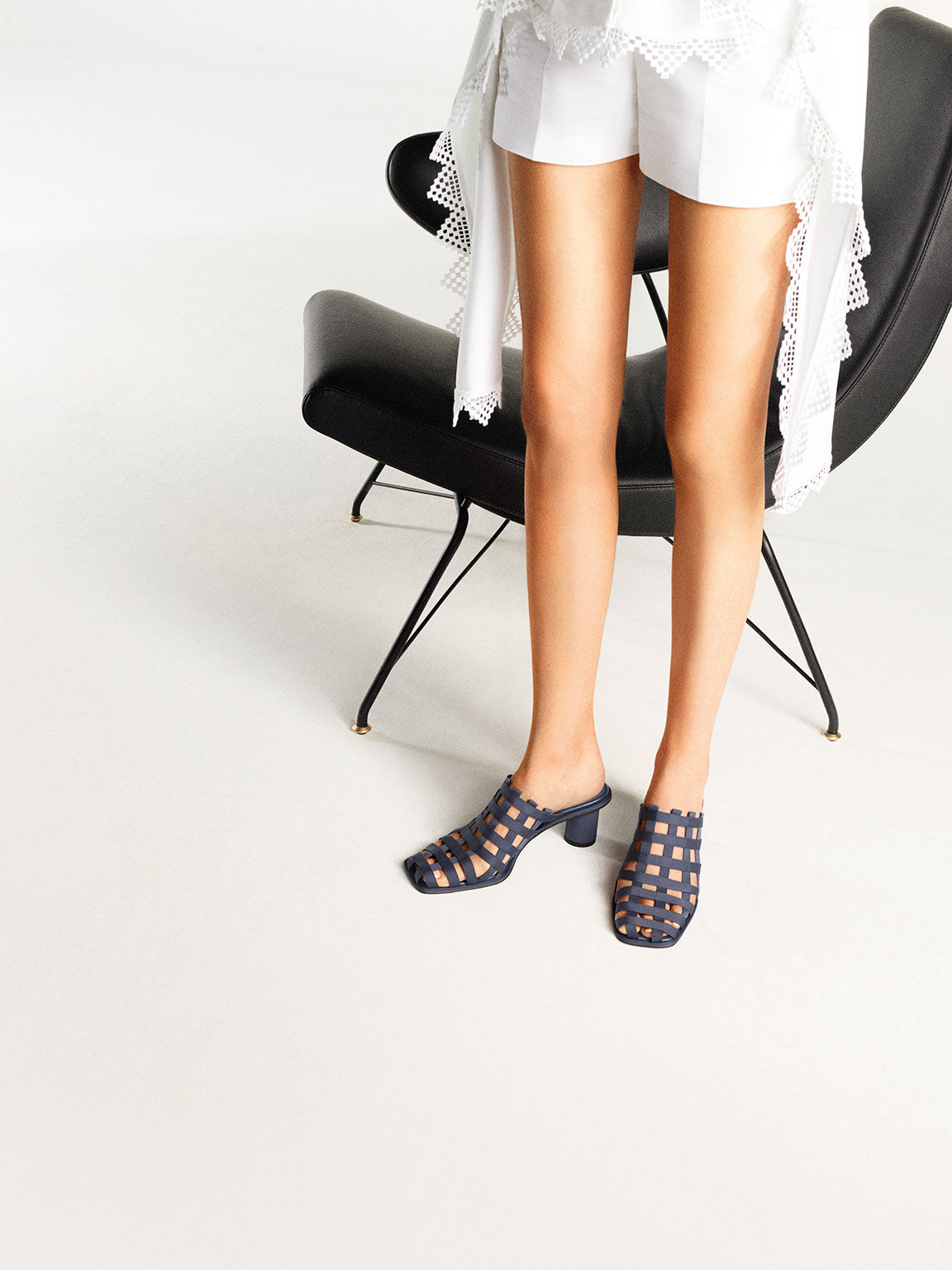 Grosgrain Caged Mules, Blue, hi-res