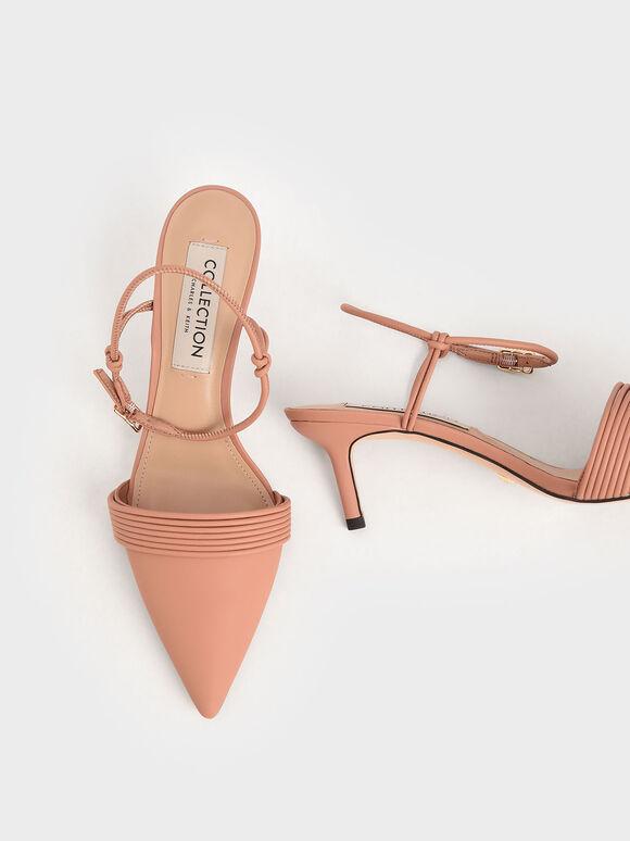 尖頭繞踝細跟鞋, 黃褐色, hi-res