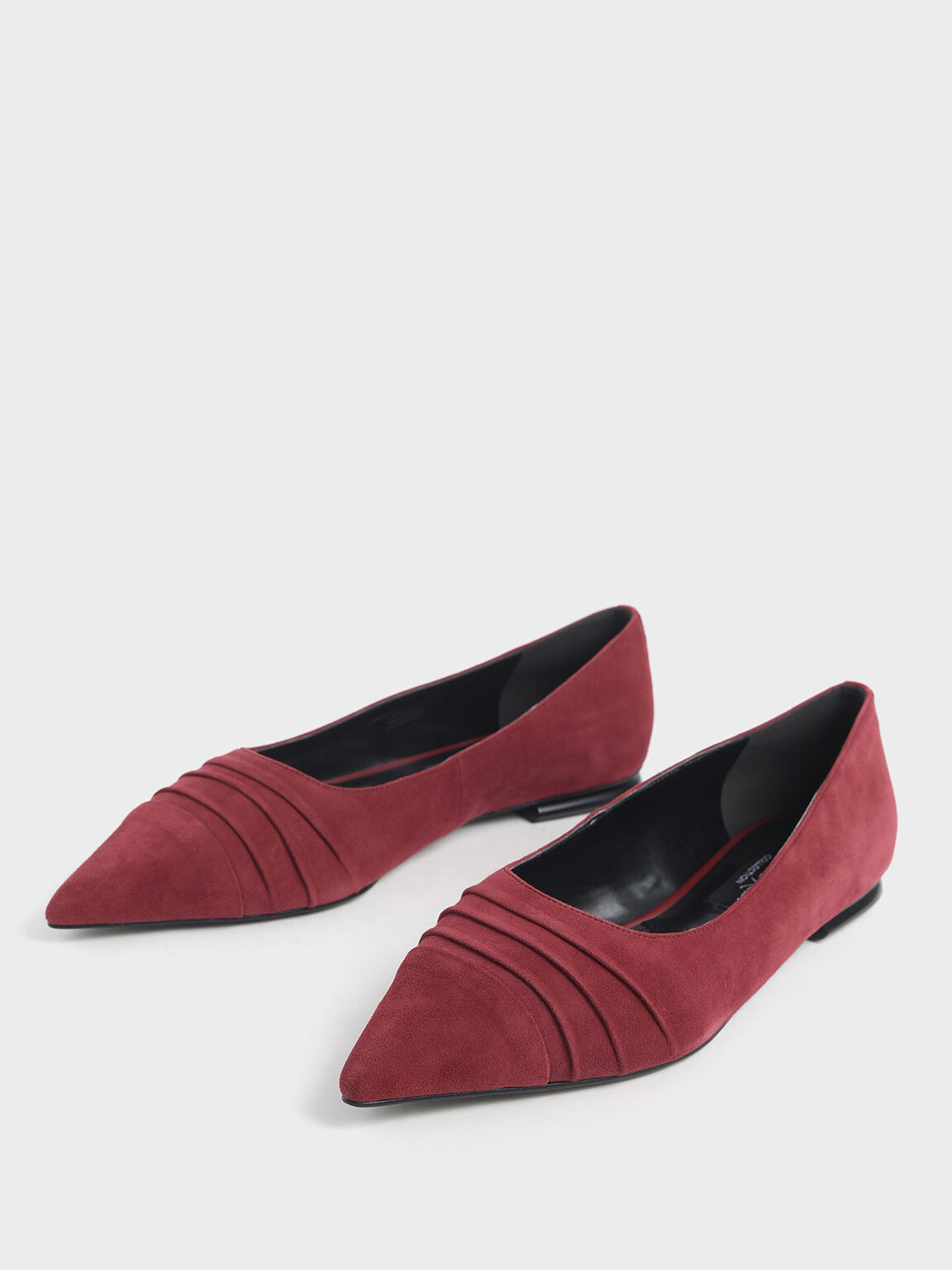 Ruched Ballerina Flats (Kid Suede), Red, hi-res