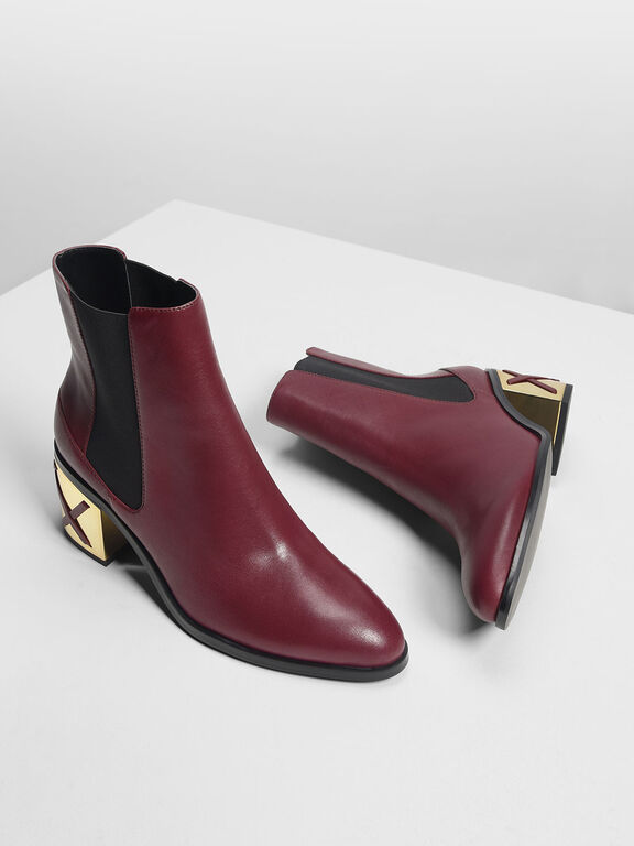 Weave Detail Chrome Heel Leather Boots, Burgundy