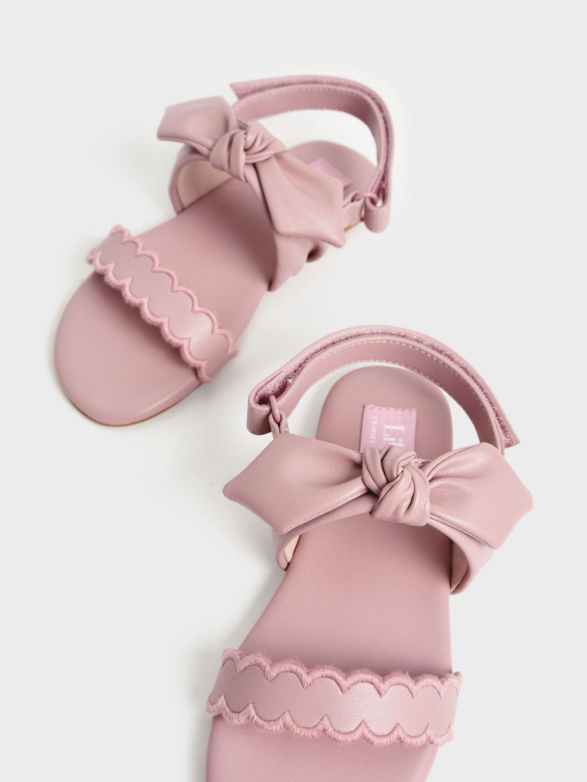 Girls' Bow-Tie Flat Sandals, Pink, hi-res