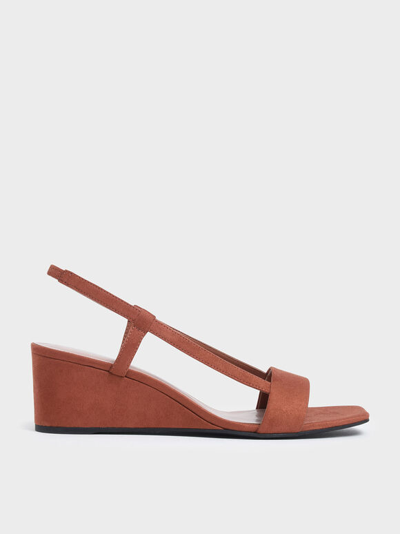 Square Toe Slingback Wedges, Brick, hi-res