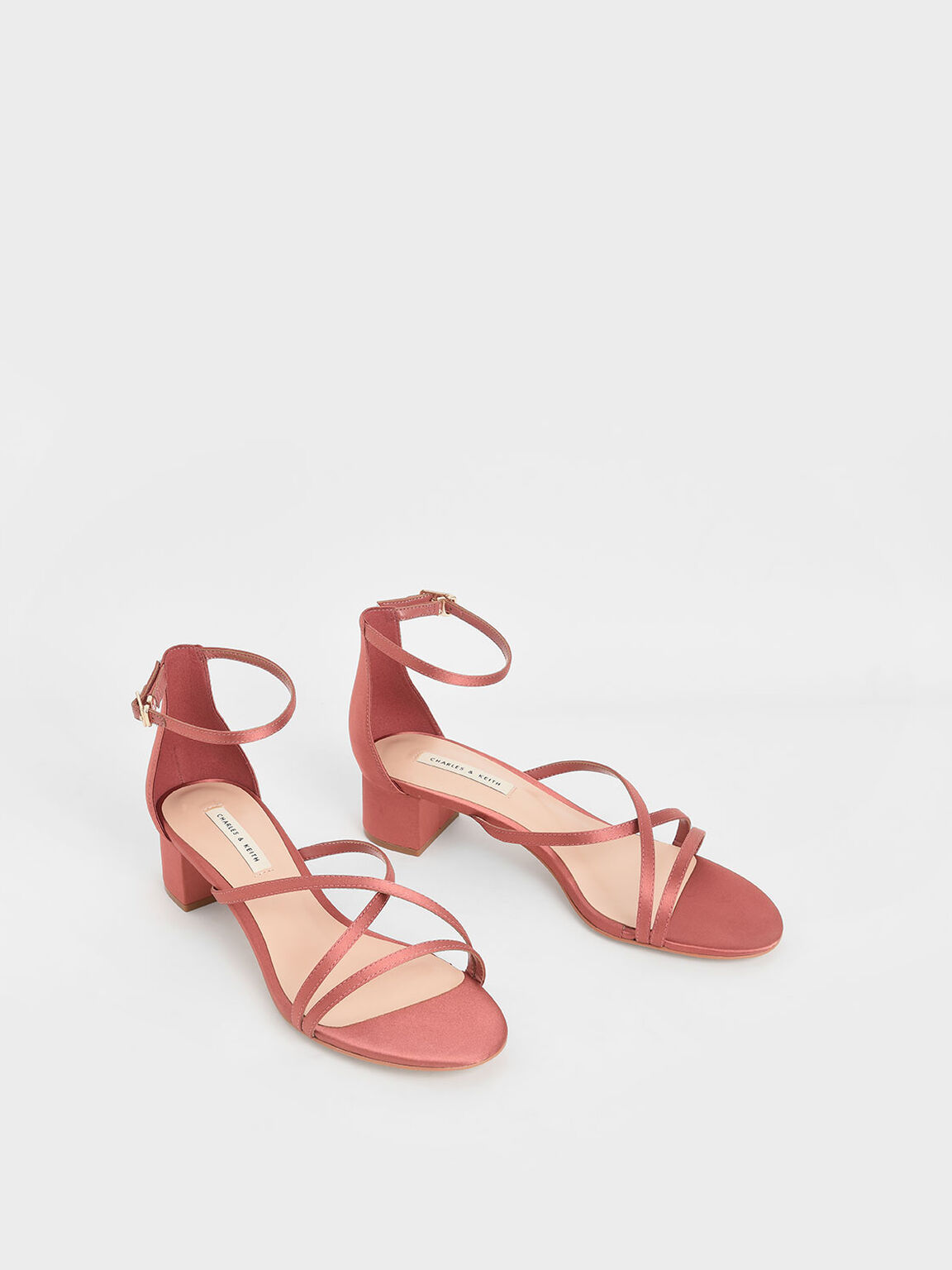 Satin Strappy Heeled Sandals, Pink, hi-res