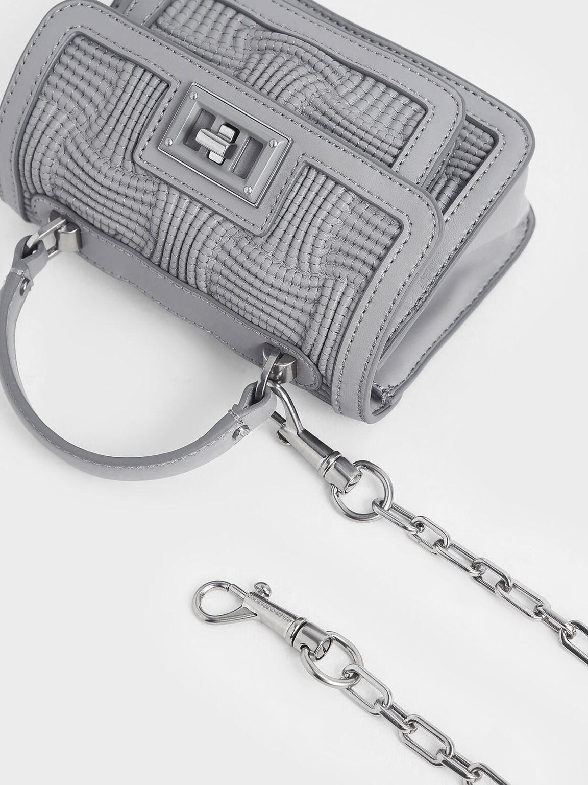 Textured Mini Bag, Grey, hi-res