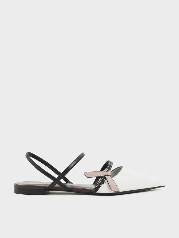 Front Knot Tie Slingback Flats, Multi, hi-res
