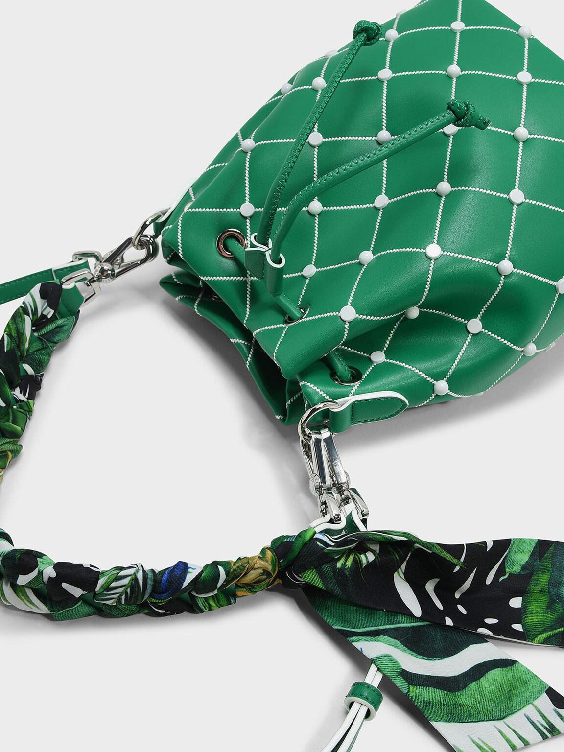 Embellished Quilted Drawstring Bucket Bag, Green, hi-res