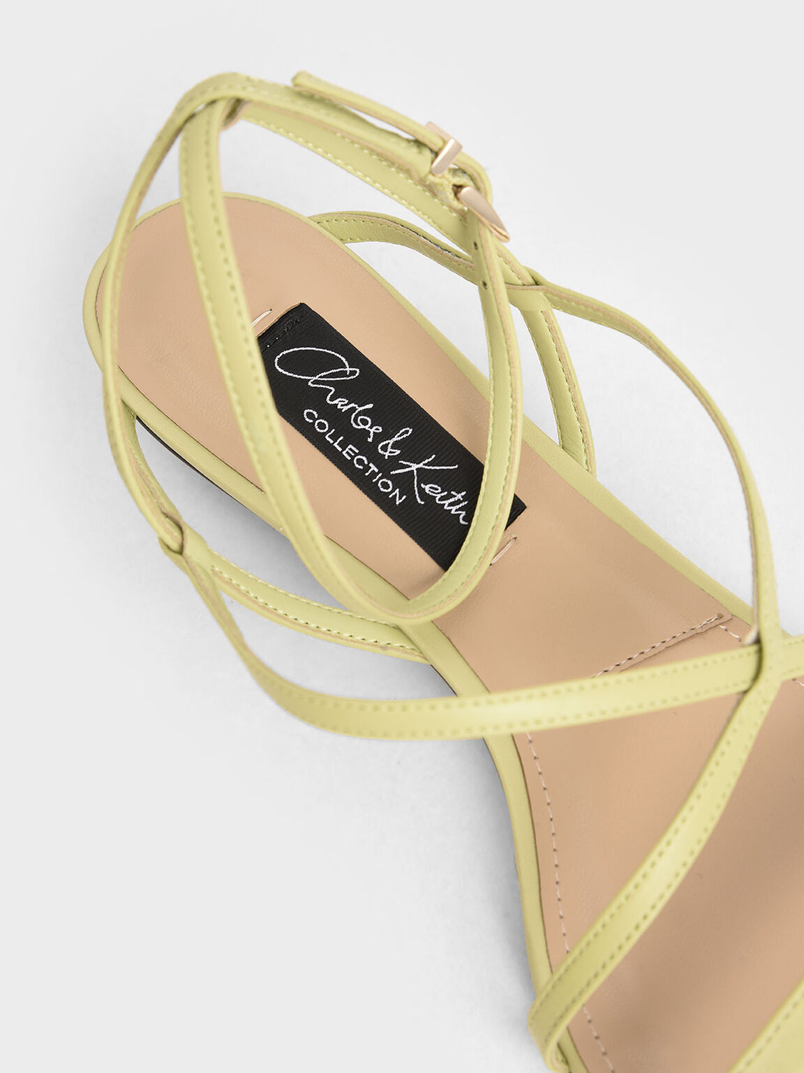 Leather Strappy Sandals, Green, hi-res