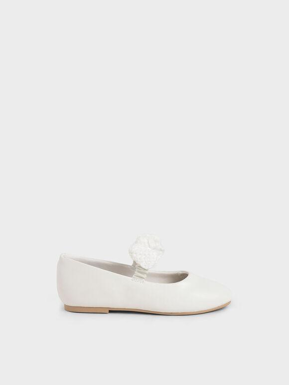 兒童蝴蝶結瑪莉珍鞋, 白色, hi-res