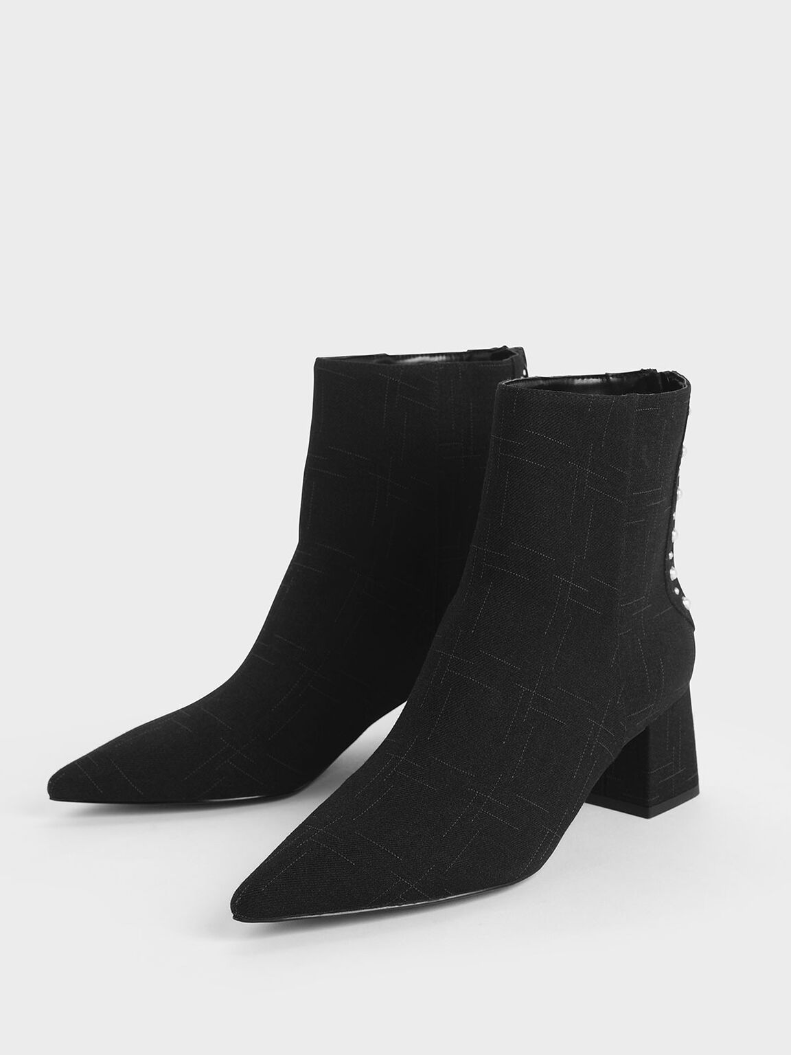 Embellished Trim Block Heel Ankle Boots, Black Textured, hi-res