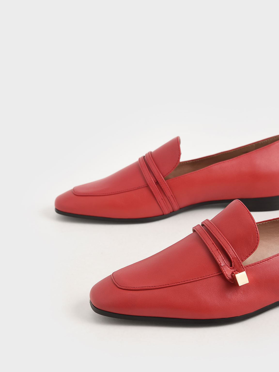 Metallic Accent Leather Loafers, Red, hi-res