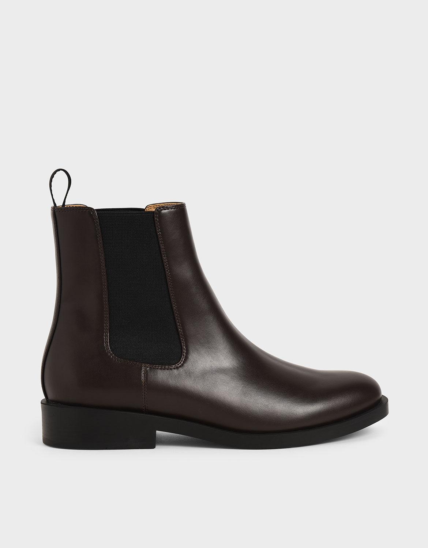 Dark Brown Round Toe Chelsea Boots