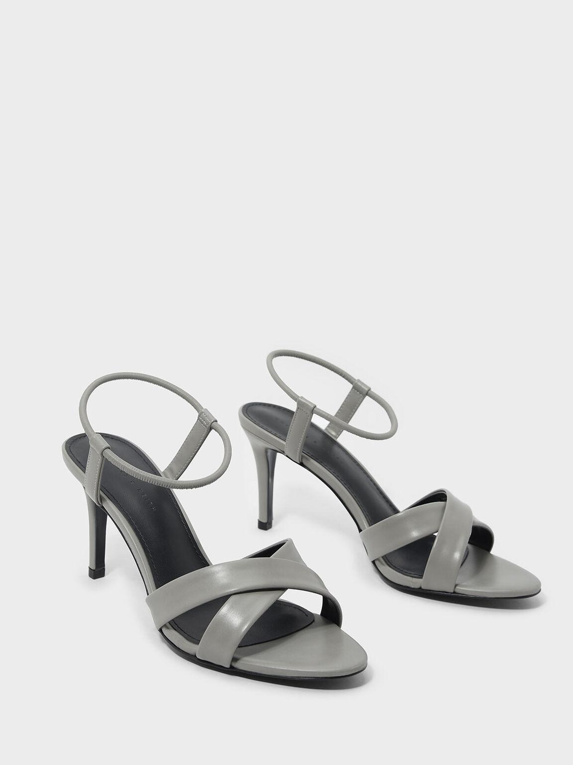 Criss Cross Heeled Sandals, Grey, hi-res