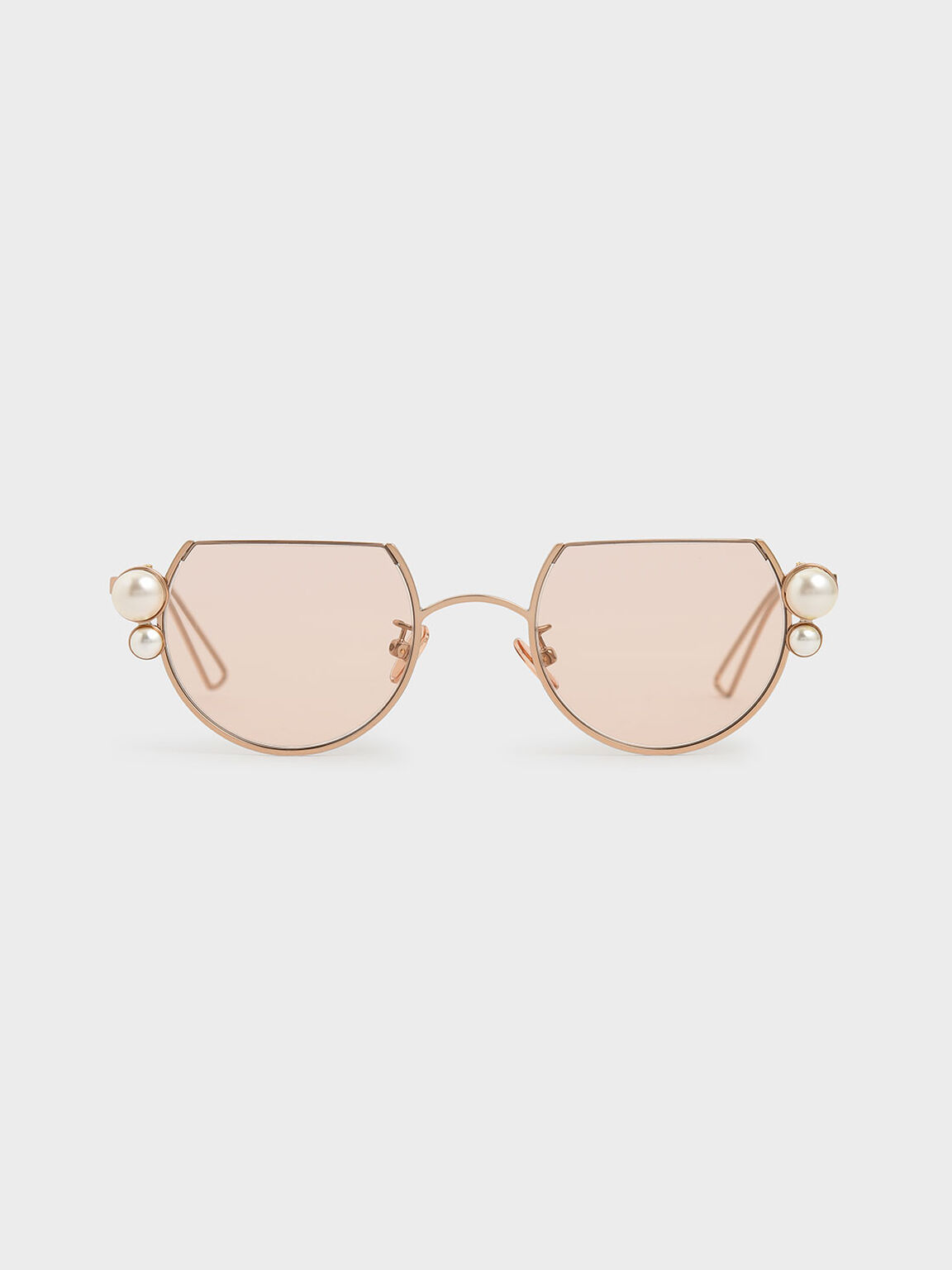 Swarovski®; Crystal Pearl Embellished Cut-Off Round Sunglasses, Rose Gold, hi-res