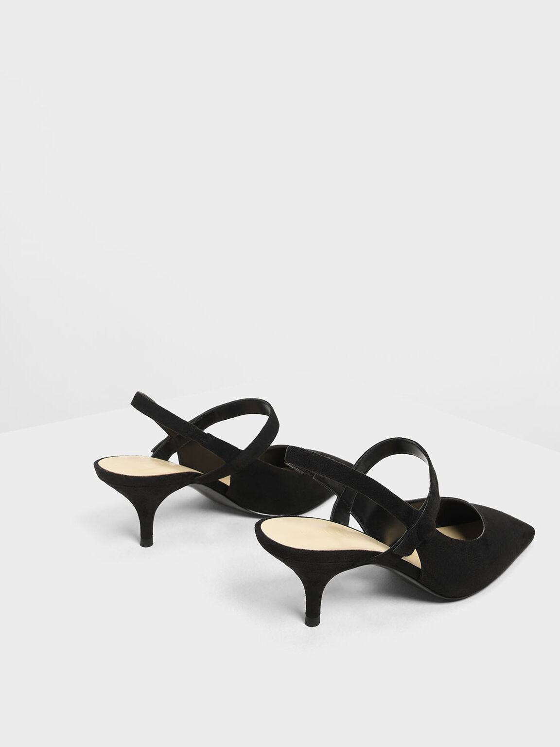 Square Toe Mary Jane Slingback Heels, Black, hi-res