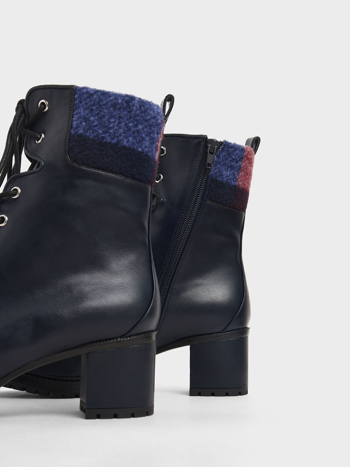 Wool Cuff Combat Boots, Dark Blue, hi-res