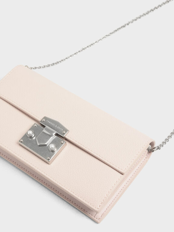 Metal Push Lock Long Wallet, Light Pink